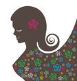 Abstract beautiful women with colorful flowers vector