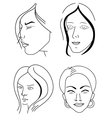 Set of woman faces vector
