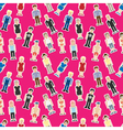 Seamless pattern with pixel people vector