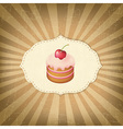 Vintage label with cupcake vector