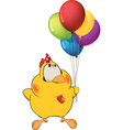 Chicken and toy balloons vector