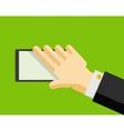 Hand holding smart phone trendy flat design vector
