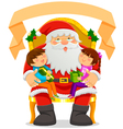 Santa and children vector