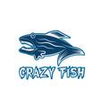 Crazy fish cartoon mascot design template vector