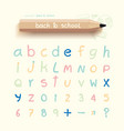 Alphabet sketched style back to school vector