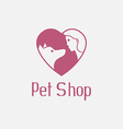 Flat pet shop logo with dog and man are best vector