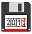 Old floppy disc for computer vector
