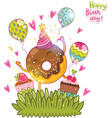 Happy birthday card background with cute donut vector