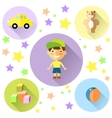 A set of cute toys icons for little boy vector
