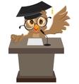 Owl speaker said on the podium vector