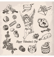 Set of hand drawn vintage valentines day vector