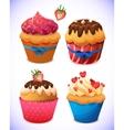 Cupcake pack chocolate and vanilla icing cupcakes vector
