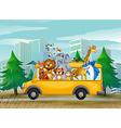 Animals on school bus vector