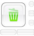 Recycle bin white button vector