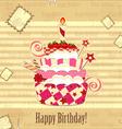 Strawberry birthday cake vector