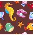 Sea creatures background vector