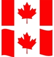 Flat and waving canada flag vector