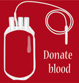 Blood bag on red background with text donate blood vector