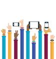 Mobile device hands raised symbols vector