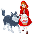 Little red riding hood and wolf vector