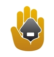 Little house in people hand vector
