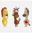 Set of funny horses cartoon character vector