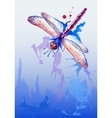 Background with purple watercolor dragonfly vector