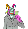 Goat making photo with smartphone vector