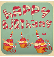 Vintage birthday card with cakes vector