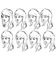 Girl face expressions sketches vector