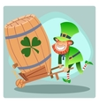 Day patrick green leprechaun lucky keg of beer vector