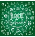 Set back to school blackboard chalk sketch white vector