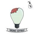 Lightbulb with brain vector