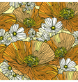 Seamless pattern with flowers daisies and poppies vector