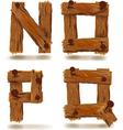 Wooden n o p q vector
