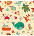 Sea life seamless pattern vector