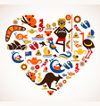 Australia love - heart with set of icons vector