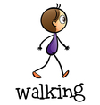 A stickman walking vector