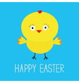 Easter chicken blue background card vector
