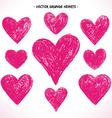 Grunge hearts set vector