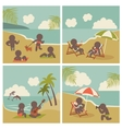 Set icon vacation people on the sea vector