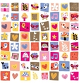 Cute flowers birds hearts pattern 4 vector