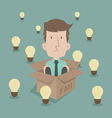Businessman thinking inside the box vector