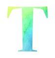 Watercolor blue-green colored alphabet vector
