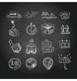 Logistic chalk board icons set vector