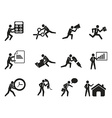 Businessman office working man icons set vector