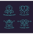 Graceful floral valentine line style heart labels vector