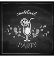 Vintage with cocktail on blackboard background vector