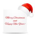 Christmas card with santa hat vector