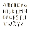 Alphabet simple hand drawn aged on white vector